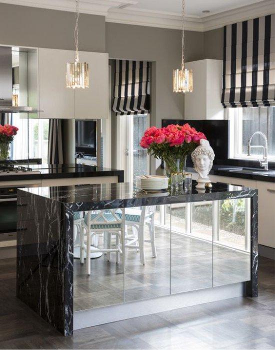 Зеркальные фасады для кухни